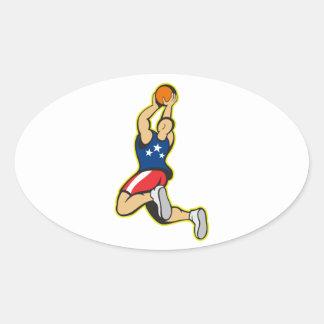 Bola de salto del tiroteo del jugador de básquet pegatina de oval personalizadas