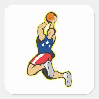 Bola de salto del tiroteo del jugador de básquet calcomanía cuadradas