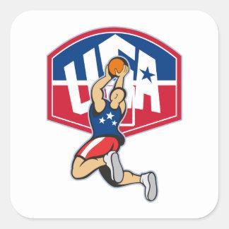 Bola de salto del tiroteo del jugador de básquet pegatinas cuadradas