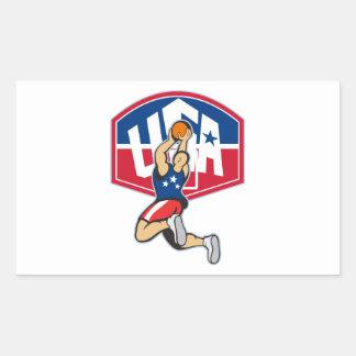 Bola de salto del tiroteo del jugador de básquet pegatina