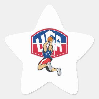 Bola de salto del tiroteo del jugador de básquet colcomanias forma de estrellaes personalizadas