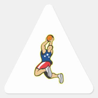 Bola de salto del tiroteo del jugador de básquet calcomanías trianguladas personalizadas