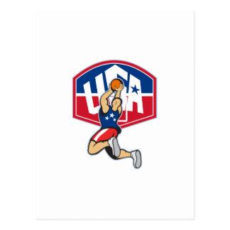 Bola de salto del tiroteo del jugador de básquet postales