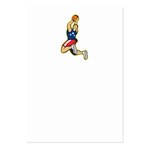 Bola de salto del tiroteo del jugador de básquet tarjetas de visita