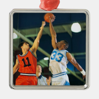Bola de salto en juego de baloncesto adorno navideño cuadrado de metal