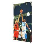 Bola de salto en juego de baloncesto impresión en lona