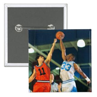 Bola de salto en juego de baloncesto pin cuadrado