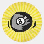 Bola del amarillo 8 pegatinas redondas