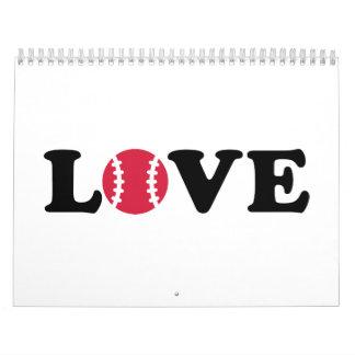 Bola del amor del béisbol calendario de pared