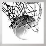 Bola del baloncesto de B&W y poster cuadrados de l
