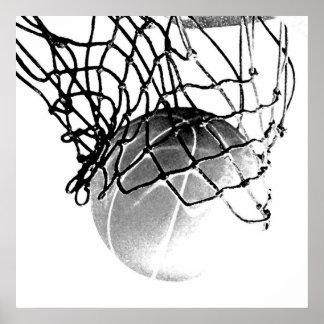 Bola del baloncesto de B W y poster cuadrados de l