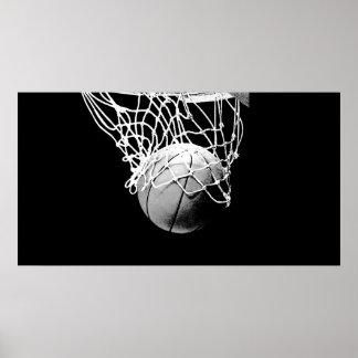 Bola del baloncesto de B W y poster de la impresió