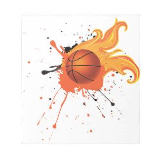 Bola del baloncesto del fuego bloc de notas