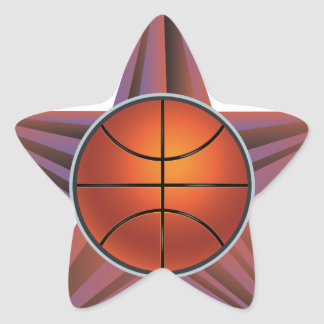Bola del baloncesto en el fondo 3 de los rayos pegatina en forma de estrella