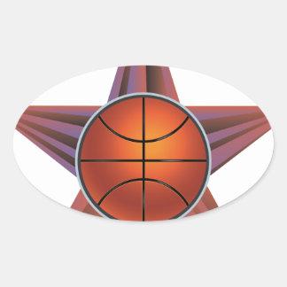 Bola del baloncesto en el fondo 3 de los rayos pegatina ovalada