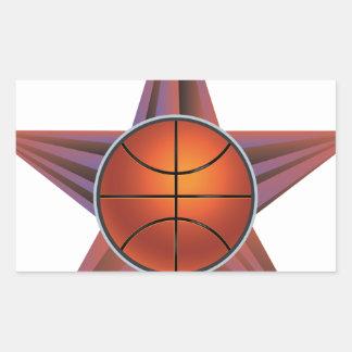 Bola del baloncesto en el fondo 3 de los rayos pegatina rectangular