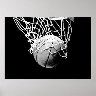 Bola del baloncesto y poster blancos negros de la