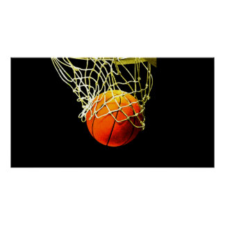 Bola del baloncesto y poster de la impresión de la