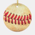 Bola del béisbol del vintage adorno navideño redondo de cerámica
