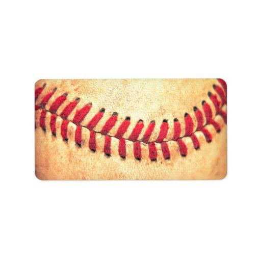 Bola del béisbol del vintage etiqueta de dirección