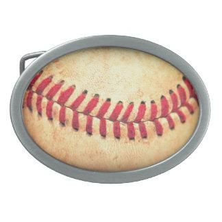 Bola del béisbol del vintage hebilla de cinturón oval