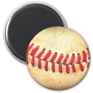 Bola del béisbol del vintage imán redondo 5 cm