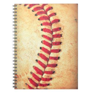 Bola del béisbol del vintage libro de apuntes con espiral