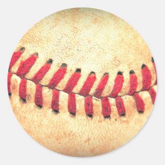 Bola del béisbol del vintage pegatina redonda