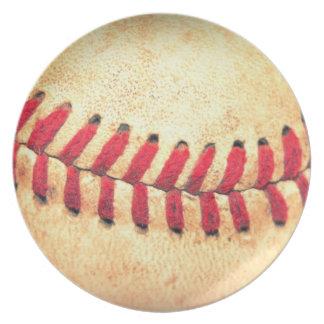 Bola del béisbol del vintage platos