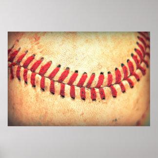 Bola del béisbol del vintage póster
