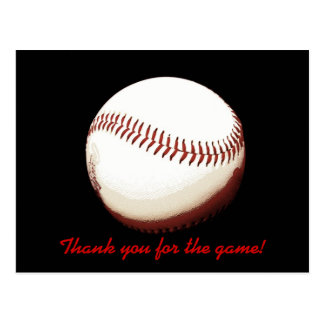 Bola del béisbol - gracias por el juego - postal