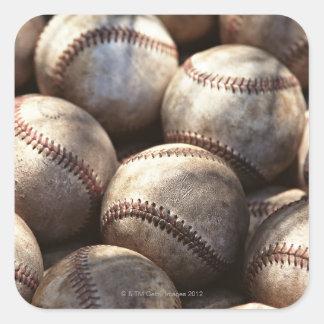 Bola del béisbol pegatinas cuadradas