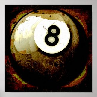 Bola del estilo 8 del Grunge Impresiones