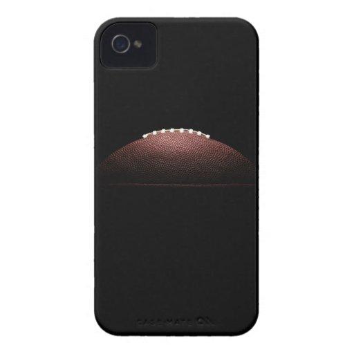 Bola del fútbol americano en fondo negro iPhone 4 cárcasa