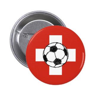 Bola del fútbol de la bandera el | de Suiza Pin Redondo 5 Cm