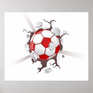 Bola del fútbol del fútbol que rompe el poster de