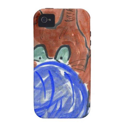 Bola del hilado de Humogus y gatito del tigre iPhone 4/4S Carcasas