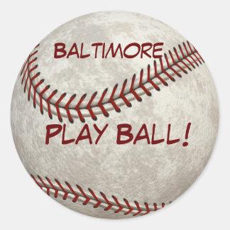 ¡Bola del juego de béisbol de Baltimore! Más Pegatina Redonda