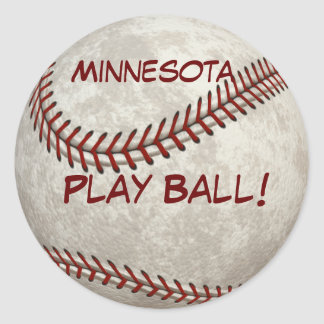 ¡Bola del juego de béisbol de Minnesota! Más Pegatina Redonda