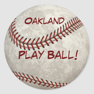 ¡Bola del juego de béisbol de Oakland! Más Pegatina Redonda