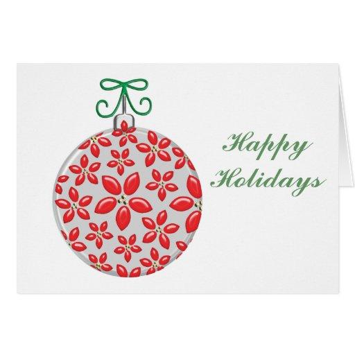 Bola del navidad con Pointsettia rojo Tarjeta De Felicitación