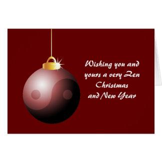 Bola del navidad de Yin Yang en rojo Tarjeta De Felicitación
