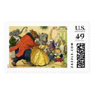 Bola del navidad en la tierra animal timbre postal