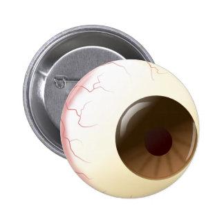 Bola del ojo de Brown Pin Redondo De 2 Pulgadas