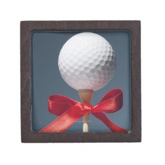 Bola del oro en camiseta con el arco rojo caja de regalo de calidad