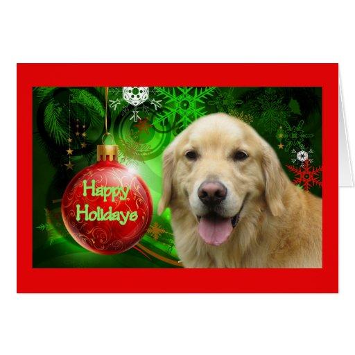 Bola del rojo de la tarjeta de Navidad del golden