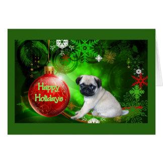 Bola del rojo de la tarjeta de Navidad del perrito