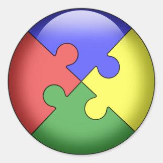 Bola del rompecabezas del autismo pegatina redonda