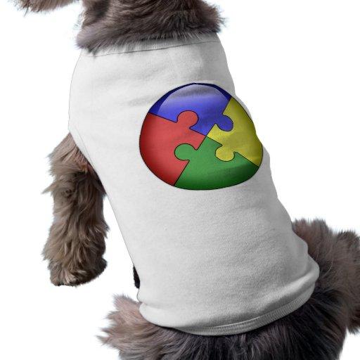 Bola del rompecabezas del autismo playera sin mangas para perro