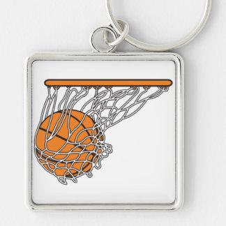 bola del woosh del baloncesto en el ejemplo neto d llavero cuadrado plateado